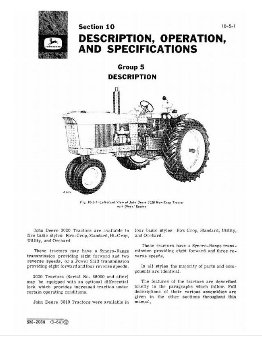 John Deere 3000 Series Tractors Service Technical Manual